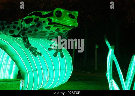 Paris, France. 16th Nov, 2018. Luminous statues representing extinct or endangered animals greet the public at Jardin des Plantes until January 15, 2019 in Paris, France. Credit: Bernard Menigault/Alamy Live News - Stock Photo