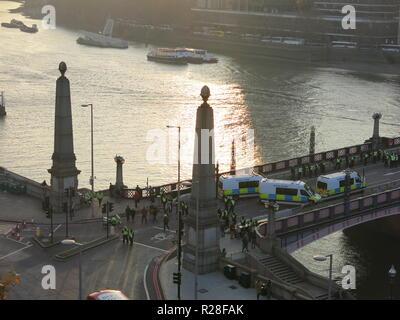 London, UK. 17th Nov, 2018. Lambeth Bridge closed for protesters, London, UK Credit: Kay Ringwood/Alamy Live News - Stock Photo