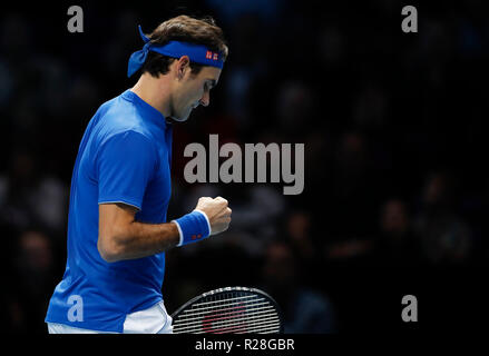 London, UK. 17th Nov, 2018. Roger Federer of Switzerland reacts during the singles semifinal match against Alexander Zverev of Germany during Day 7 of the 2018 Nitto ATP World Tour Finals at The O2 Arena in London, Britain on Nov. 17, 2018. Roger Federer lost 0-2. Credit: Han Yan/Xinhua/Alamy Live News - Stock Photo