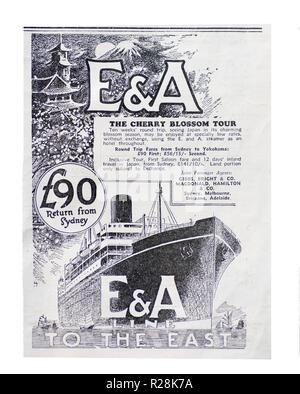 1932 Australian newspaper advertisement 'Cherry Blossom Tour' Sydney to Yokohama on an unnamed E & A Line Steamer. - Stock Photo