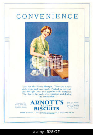 Arnott's Famous Biscuits full page 1932 colour advertisement for Arnott's Biscuits in The Sydney Mail newspaper. - Stock Photo
