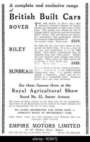 1932 Australian newspaper advertisement for British Built Cars:  Rover,Riley and Sunbeam, - Stock Photo