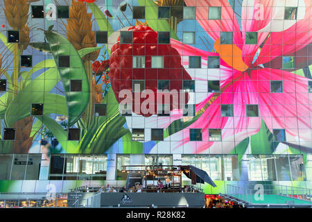 Interior of Markthal, Rotterdam, Zuid Holland, Netherlands - Stock Photo