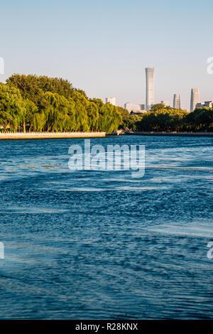 Shichahai Houhai lake at evening in Beijing, China - Stock Photo