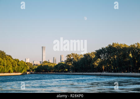 Shichahai Houhai lake at evening in Beijing, China - Stock Photo