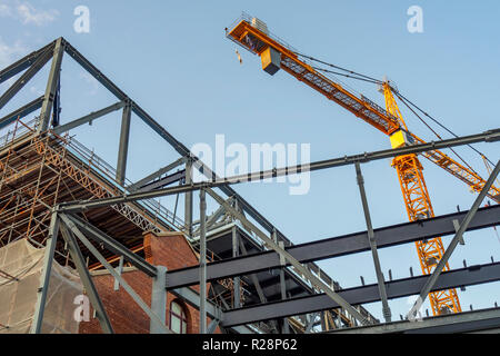 Steel girders and crane at construction site of new Western Australian Museum Perth WA Australia. - Stock Photo