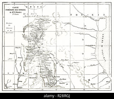 Old map of Henri Mouhot exploration itinerary in Southeast Asia. By Erhard and Bonaparte, publ. on le Tour du Monde, Paris, 1863 - Stock Photo