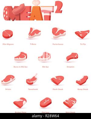 Vector beef meat cuts for steaks