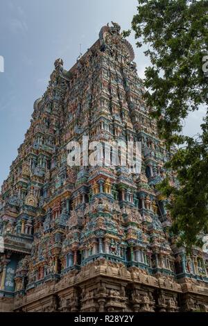 North Tower, Meenakshi Temple, Madurai, Tamil Nadu, India - Stock Photo