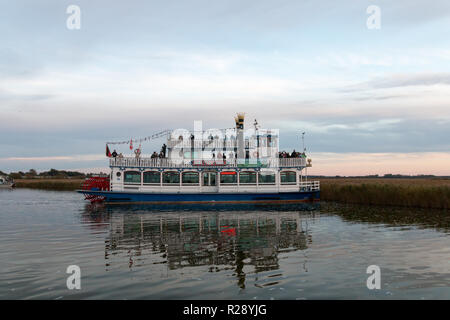Prerow, Germany - October 10, 2018: View of the excursion steamer Baltic Star, which travels with tourists to the Bodden to observe cranes, Germany. - Stock Photo