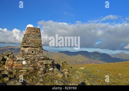 Trig point on summit of Moel Hebog, Beddgelert - Stock Photo