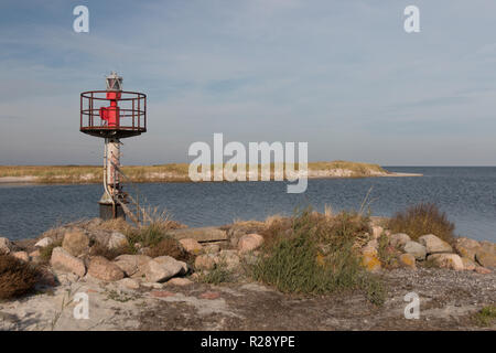 Prerow, Germany - October 10, 2018: View of an old beacon at the entrance to the harbour of refuge Prerow at the Baltic Sea, Germany. - Stock Photo