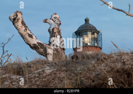 Prerow, Germany - October 10, 2018: View of the lighthouse at Darßer Ort near Prerow on the Baltic Sea coast, Germany. - Stock Photo