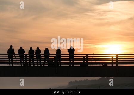 Prerow, Germany - October 10, 2018: View of photographers photographing the sunrise on the beach of Prerow at the Baltic Sea, Germany. - Stock Photo