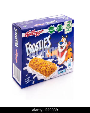 SWINDON, UK - NOVEMBER 18 2018: Box of Kelloggs Frosties cereal bars on  white background - Stock Photo