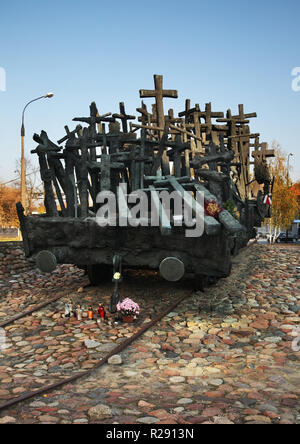 Mother Sybiraczki square. Monument to Fallen and Murdered in  East in Warsaw. Poland - Stock Photo