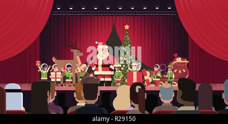 Open red curtain Santa Claus and elves theater show merry christmas happy new year holiday concept horizontal flat - Stock Photo