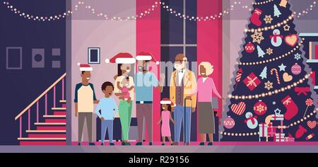 multi generation african american family standing together in house near decorated fir tree happy new year merry christmas concept flat horizontal - Stock Photo