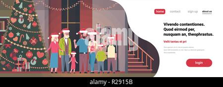 multi generation family standing together in house near decorated fir tree happy new year merry christmas concept flat horizontal copy space - Stock Photo