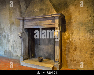 Medieval fireplace in Piemonte, Italy castles - Stock Photo