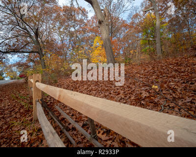 View of Wooden Fence And Vegetaion on a Hill on the Side of the Road - Stock Photo