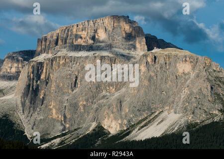 Dolomites, Sella Group, Sass Pordoi, Climbing, Fassa Valley, aerial photo, Trentino region, Canazei, Campitello, Italy - Stock Photo