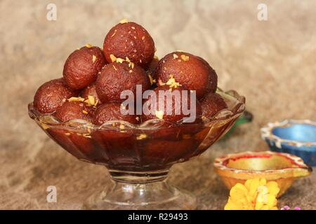 Homemade Gulab Jamuns / Diwali Sweets, selective focus - Stock Photo