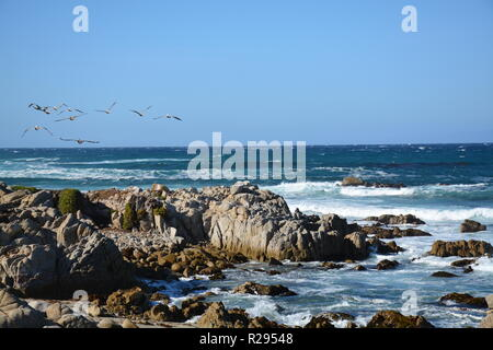 Monterey, California. Afternoon waves. Pacific Coast Highway. - Stock Photo