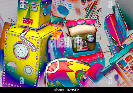 surrealistic robots toys  close up  abstract image - Stock Photo
