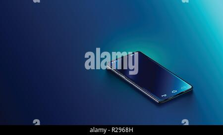 Modern black smart phone lies on a smooth dark blue surface or table in perspective view. Realistic vector illustration isometric smartphone. New shiny mobile cellphone with reflection on the screen - Stock Photo
