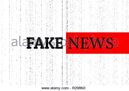 Fake news concept. Red, black and white vector illustration with grunge photocopy texture. Can be used as a banner or background in social media. - Stock Photo