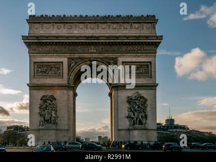 Beautiful view of the Arc de Triomphe at sunset, Paris, France - Stock Photo