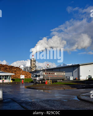 Ramage Transport Ltd. Heavy Goods Vehicle at Egger Barony industrial plant. Auchinleck, East Ayrshire, Scotland, United Kingdom, Europe. - Stock Photo