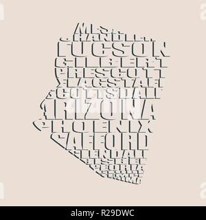 Word cloud map of Arizona state - Stock Photo