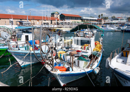 Traditional fishing boats in Paphos Harbour, Paphos (Pafos), Pafos District, Republic of Cyprus - Stock Photo