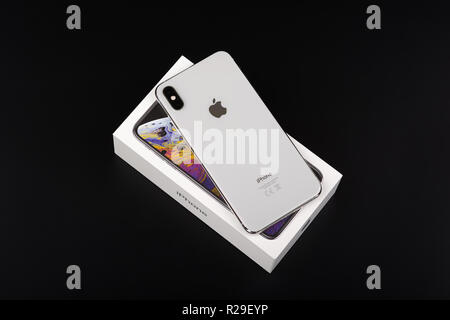 BURGAS, BULGARIA - NOVEMBER 8, 2018: Apple iPhone Xs Max Silver on black background, back view. - Stock Photo