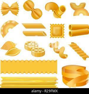 Fusilli pasta penne mockup set. Realistic illustration of 16 fusilli pasta penne mockups for web - Stock Photo
