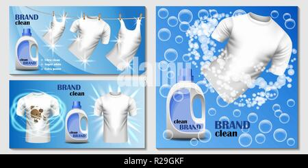 Laundry room washing banner concept set. Realistic illustration of 3 laundry room washing vector banner horizontal concepts for web - Stock Photo