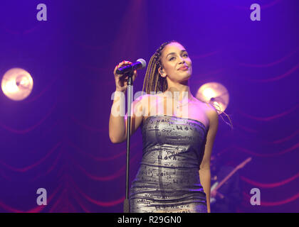 British singer/songwriter Jorja Smith performing on the first of two sold out night's at O2 Academy Brixton on Wednesday 17th October 2018 (Photos by Ian Bines/WENN)  Featuring: Jorja Smith Where: London, United Kingdom When: 17 Oct 2018 Credit: WENN.com - Stock Photo