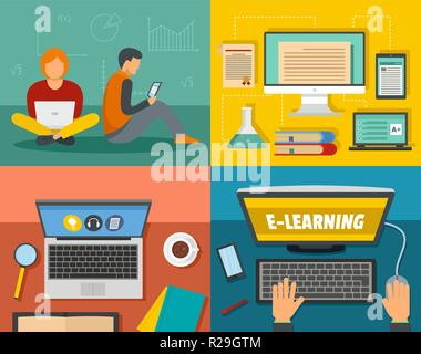 E-learning online training education banner concept set. Flat illustration of 4 electronic learning online training education vector banner horizontal concepts for web - Stock Photo