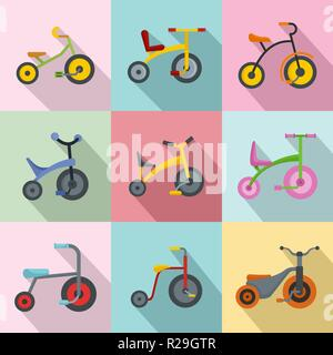 Tricycle bicycle bike wheel icons set. Flat illustration of 9 tricycle bicycle bike wheel vector icons for web - Stock Photo