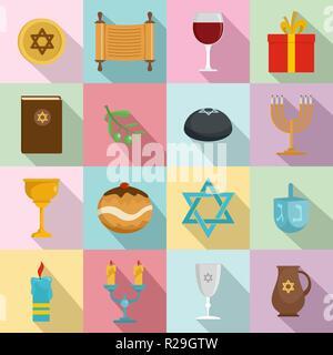 Chanukah jewish holiday icons set. Flat illustration of 16 chanukah jewish holiday vector icons for web - Stock Photo