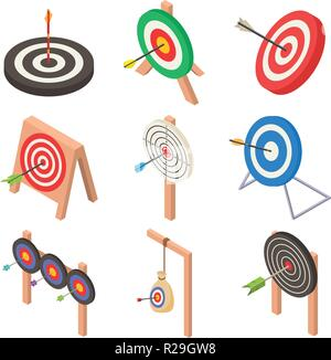 Target with arrow icons set. Isometric illustration of 9 target with arrow logo vector icons for web - Stock Photo