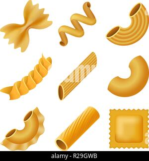 Macaroni pasta spaghetti mockup set. Realistic illustration of 9 macaroni pasta spaghetti mockups for web - Stock Photo