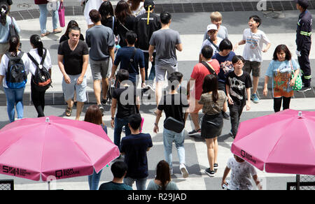 BANGKOK, THAILAND, MAY 29 2018, People walking on zebra crossing at center of Bankgok. A pedestrian on crosswalk. - Stock Photo