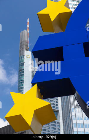 Euro sign and Commerzbank building in Willy Brandt Platz, Frankfurt, Hesse, Germany - Stock Photo