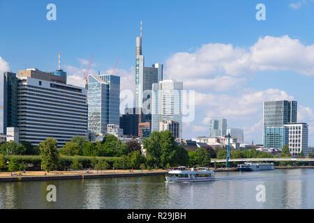 Skyline along River Main, Frankfurt, Hesse, Germany - Stock Photo