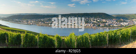 View of Bingen and River Rhine, Rudesheim, Rhineland-Palatinate, Germany - Stock Photo