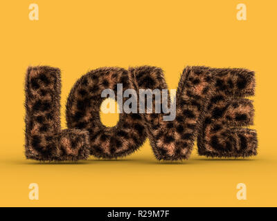 Cute fluffy pink love shape on yellow. 3D rendering - Stock Photo