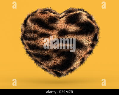 Cute fluffy pink heart shape on yellow. 3D rendering - Stock Photo